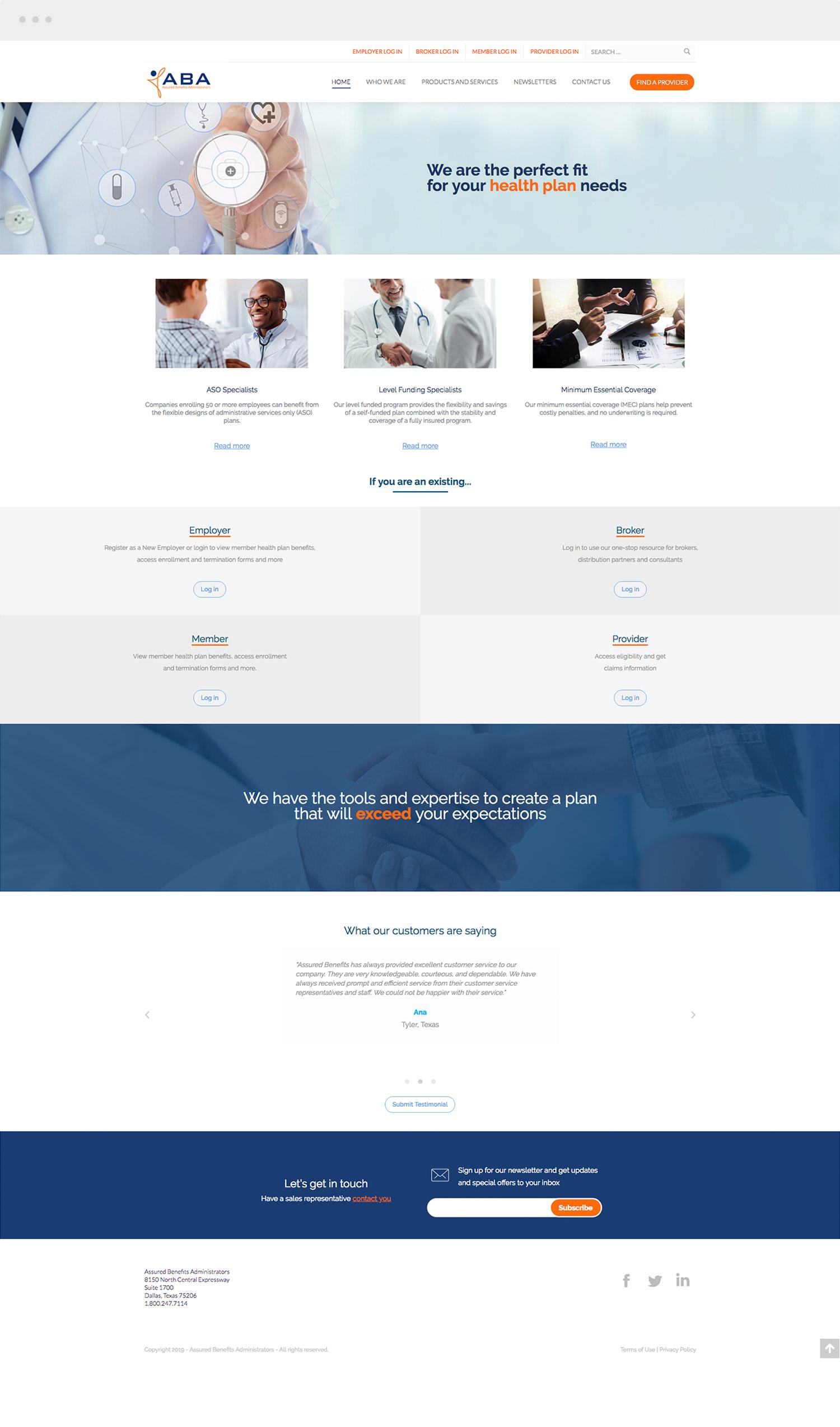 ABA's Website Desktop